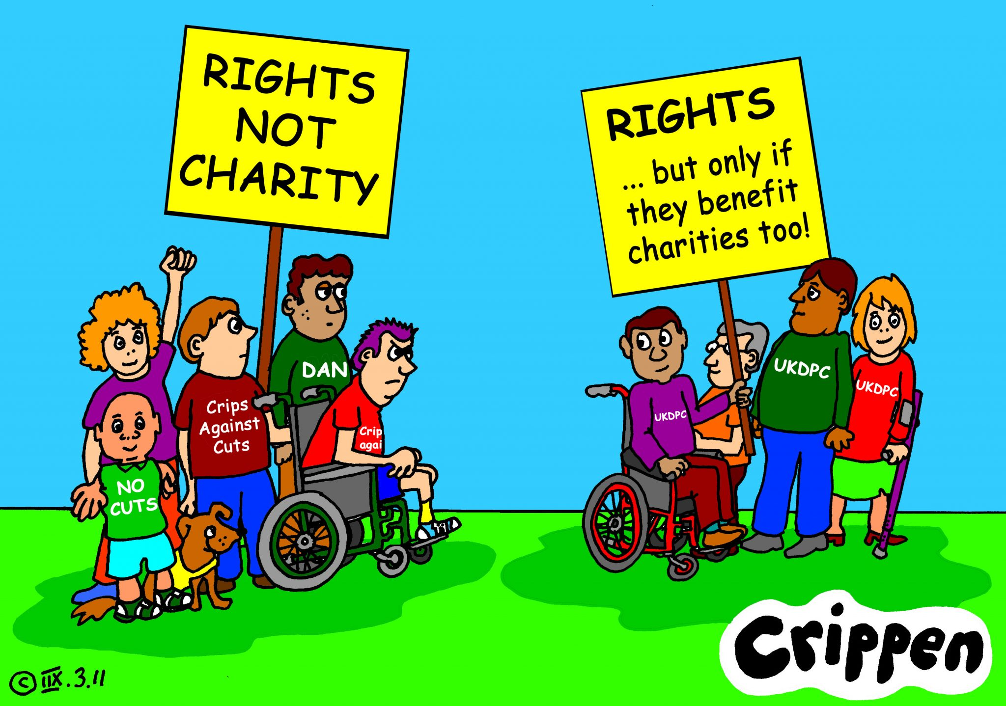 'Rights ... but only if they benefit charities too!'