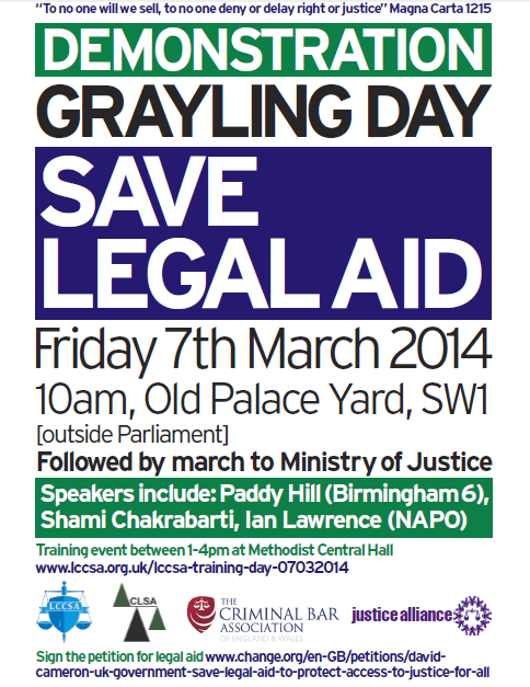 Poster Save Legal Aid 7th March, Old Palace Yard