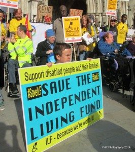 DPAC protestors showing solidarity and support with ILF activists with Linda Jack and John McDonnell MP