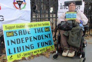 Jenny Hurst with save ILF campaign postcard