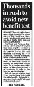 Daily Mail Article - Thousands in rush to avoid the new benefit test