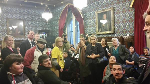 @Debbie_abrahams Packed room to listen to disabled & their carers protest about #independentlivingfund closure.