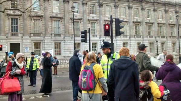 @FuelPovAction @Dis_PPL_Protest blocking all traffic in Whitehall to #SaveILF