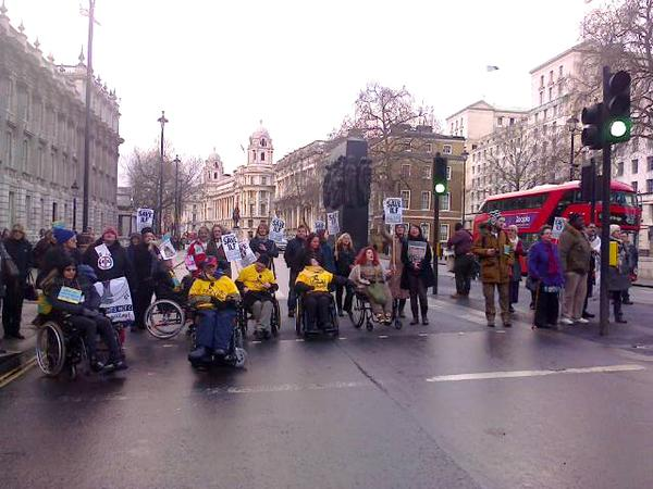 @Transportforall Roadblock! We are protesting with @Dis_PPL_Protest in front of the parliament to #SaveILF!