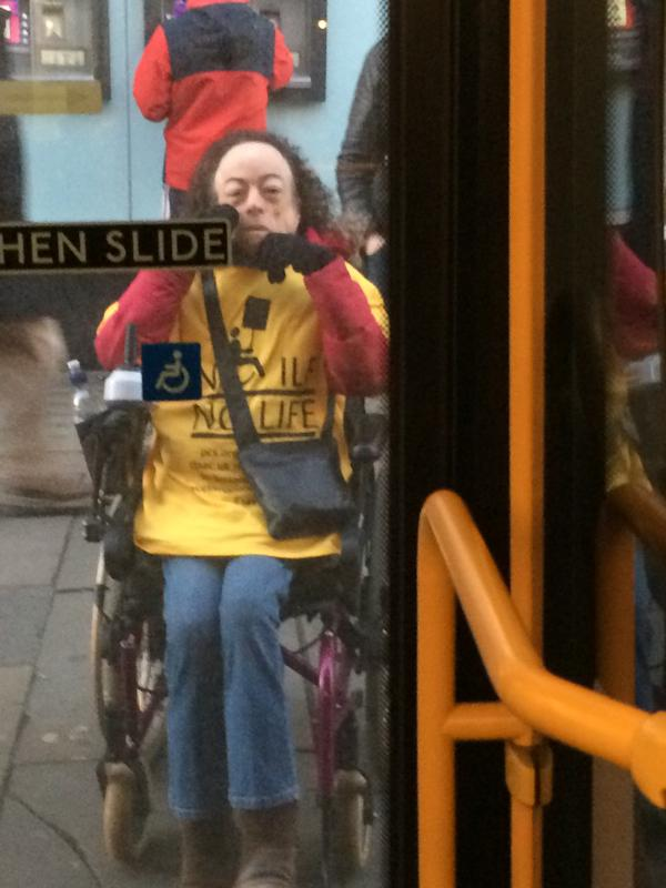 @cheryleehouston After protesting for #SaveILF we all travelled home separately - only one wheelchair per bus