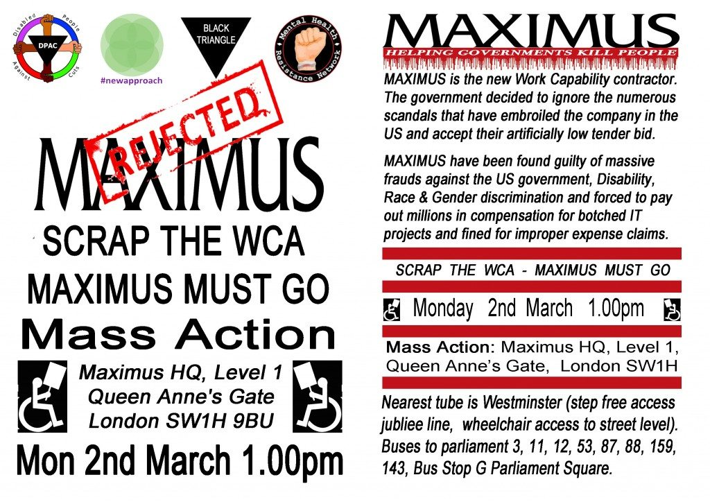 Maximus Day of Action 2nd March A5 leaflet front and back 06