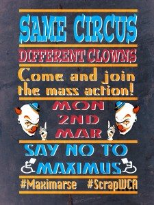 Brian Hilton Artwork for the Maximus Day of action, number 2. Same Circus, Different Clowns version 2