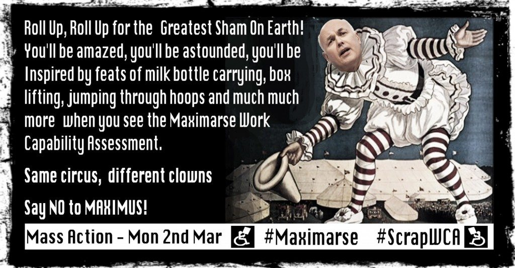Brian Hilton Artwork for the Maximus Day of action, Same Circus, Different Clowns version 5
