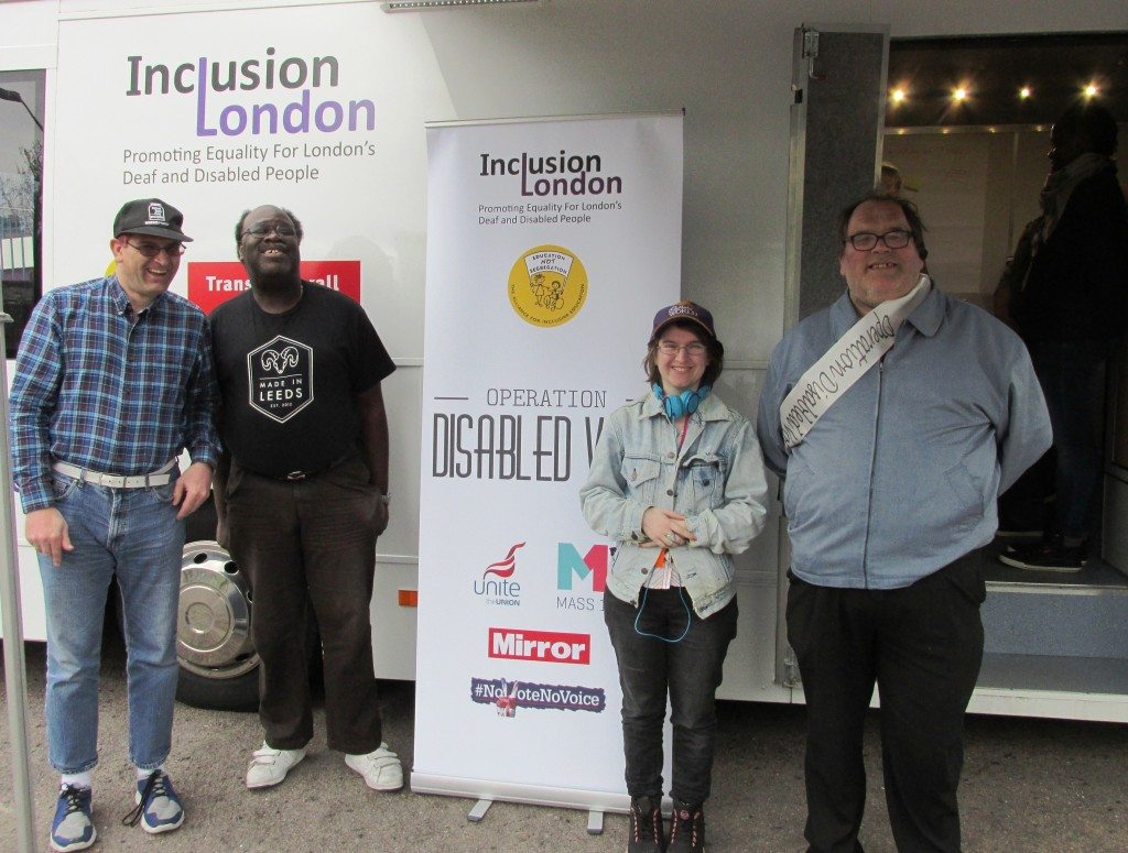 Staff members from People First (Brixton) left to right, Andrew Lee, Ray Johnson, Amy (Campaign and Policy officer for People First) and Stephen Asleford at the launch of Operation Disabled Vote.