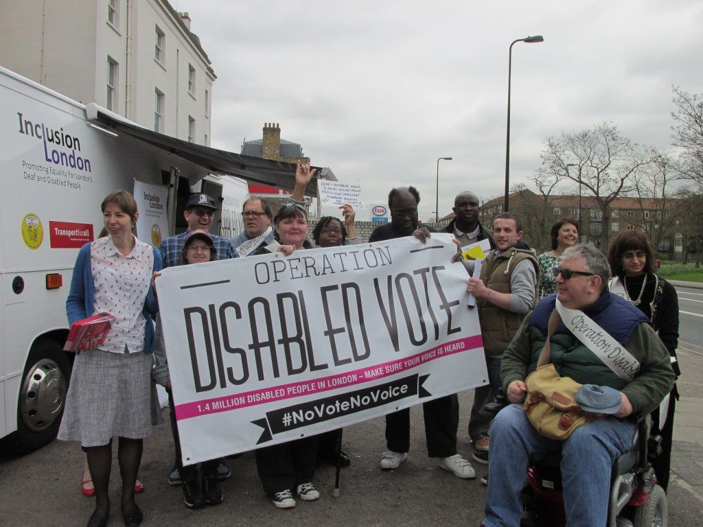 Group photo outside the Operation Disabled Vote bus at Brixton.