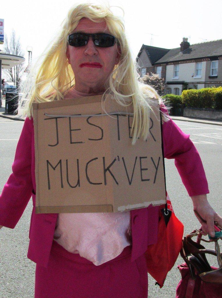 Steve Higginson (Unite 357 branch Wirral) dressed up as Jester Muckvey
