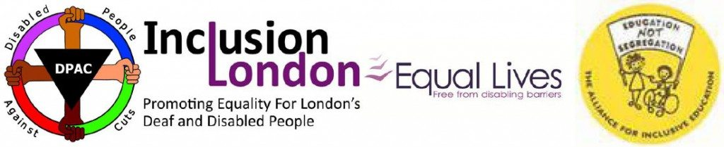 Logos of supporting organisations, DPAC, Inclusion London, Equal Lives and Allfie