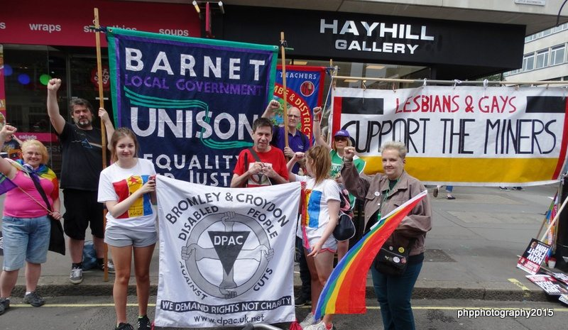 Patrick Hunter and John Burgess Barnet Unison with Louise and Roger from dpac with DPAC and Barnet Unison banners
