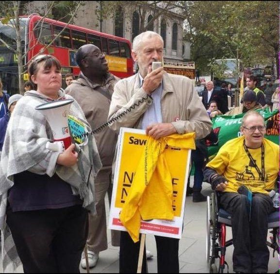 Jeremy Corbyn is the ONLY Labour Leadership Candidate to have come out on the street to stand side by side with DPAC in solidarity