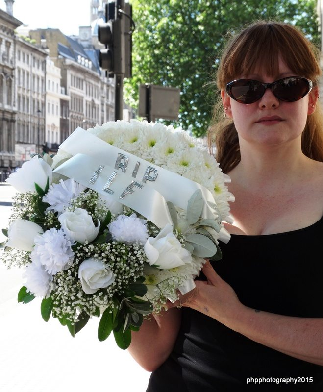 The wreath to the death of Independent Living, at the entrance to Downing St