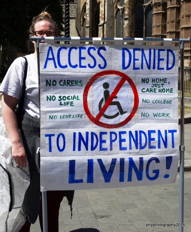 Kilburn Unemployed Workers Group, with access denied independent living placard