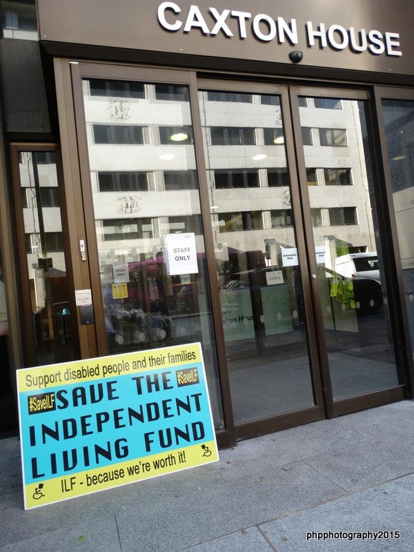 Giant ILF postcard was left at caxton house DWP HQ, at protest of ilf closing.