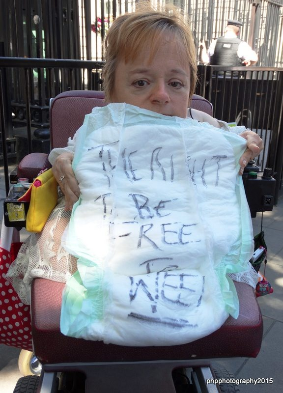 "Incontience pad with message ""the right to be free to wee"""