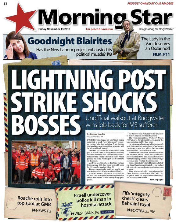 Friday's front: Lightning post strike shocks bosses – Unofficial walkout wins job back for MS sufferer