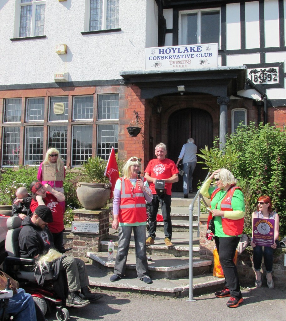 Revenge on McVey, DPAC outside her local constituency offices