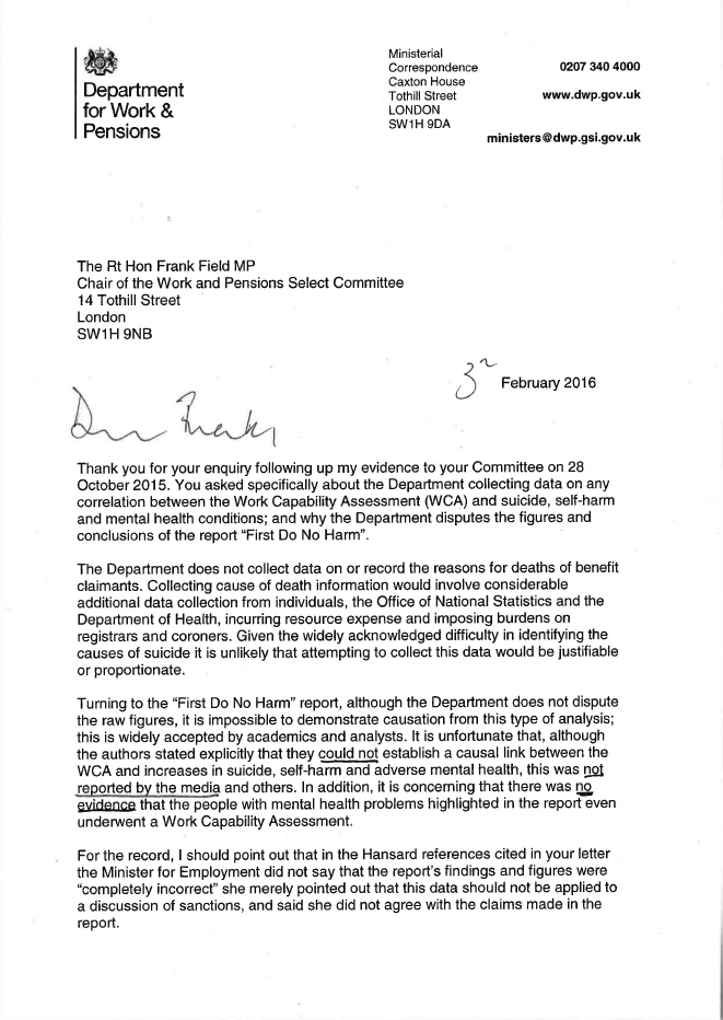 Letter from IDS in response to Frank Fiield's letter about claimant deaths, page 1