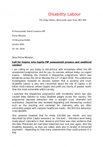 Disability Labour's Letter to David Cameron about PIP Page 1