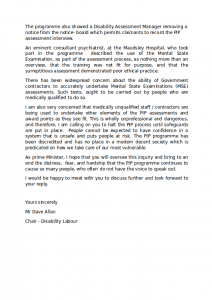 Disability Labour's Letter to David Cameron about PIP Page 2