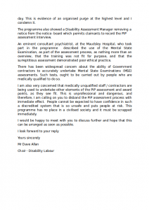 Disability Labour's Letter to Stephen Crabb about PIP Page 2