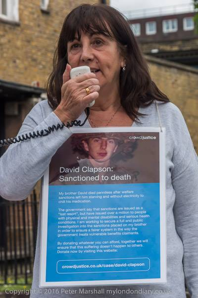Vauxhall Action Photos - credit Peter Marshall #4 Gill Thompson talking about the sanctions that killed her brother David Clapson