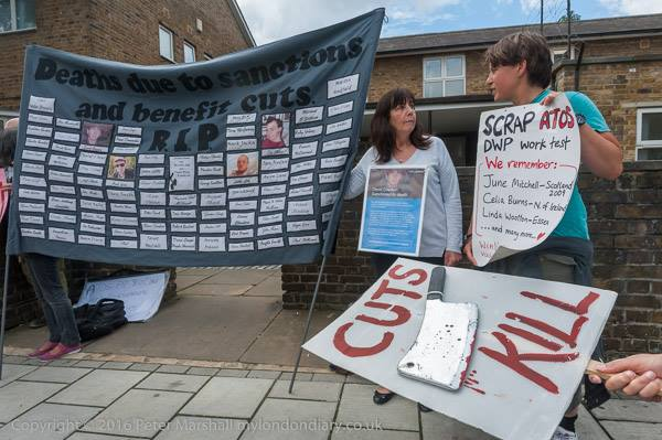 Vauxhall Action Photos - credit Peter Marshall #1 Banner listing the names of people who have died due to Welfare cuts