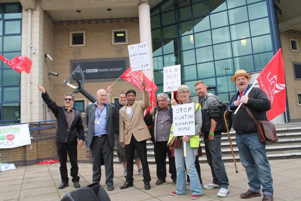 Southampton DPAC and Unite Commuunity Protests at BBC Radio Solent