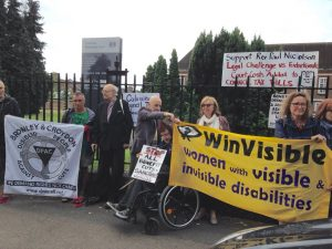 Disabled protesters from Bromley DPAC and Winvisible were there to support Rev Paul Nicholson at the court case yesterday. Photo Credit: Paula Peters.