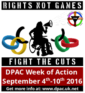 "DPAC Week of Action Logo with ""DPAC Week of Action, September 4-10th 2016"" underneath"