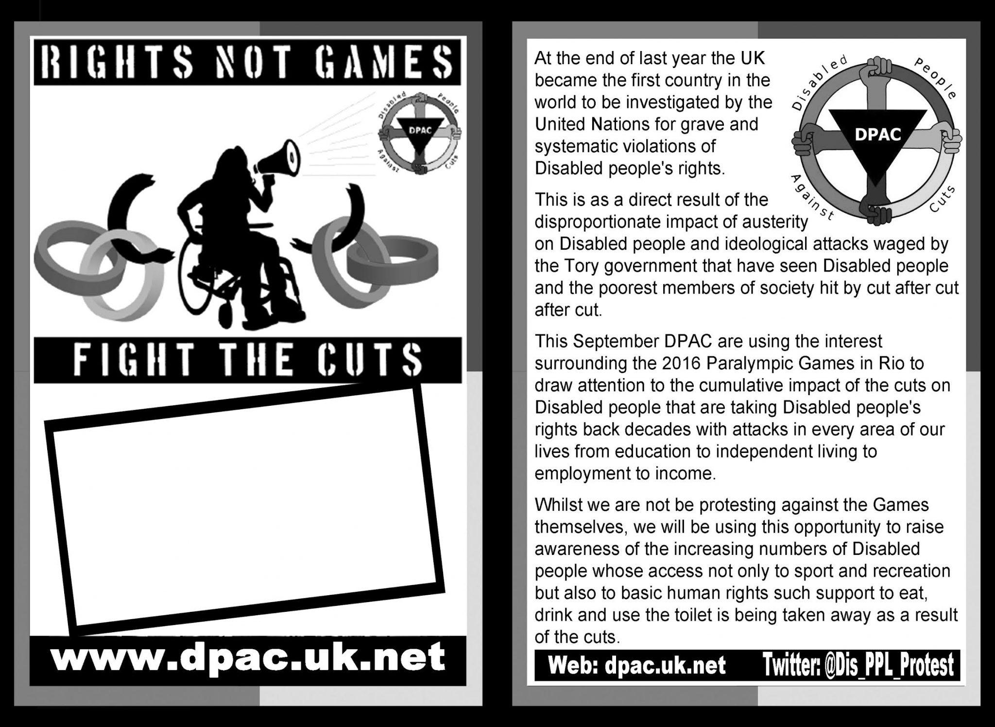 RightsnotGames leaflet