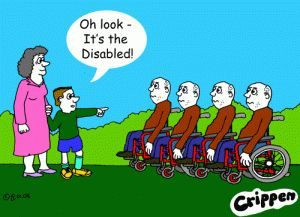 "Crippen Cartoon - child pointing at a row of identical people in wheelchairs, saying ""Oh look, its the disabled"""