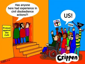 Crippen cartoon about disabled people as campaigners
