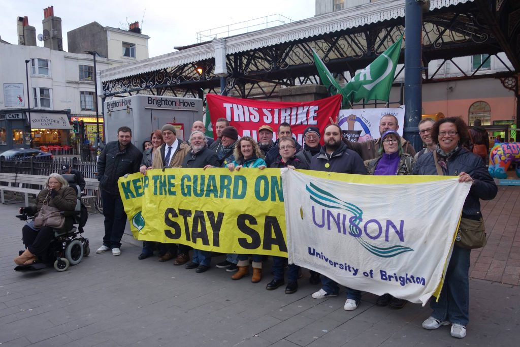 The Author showing support for striking rail workers