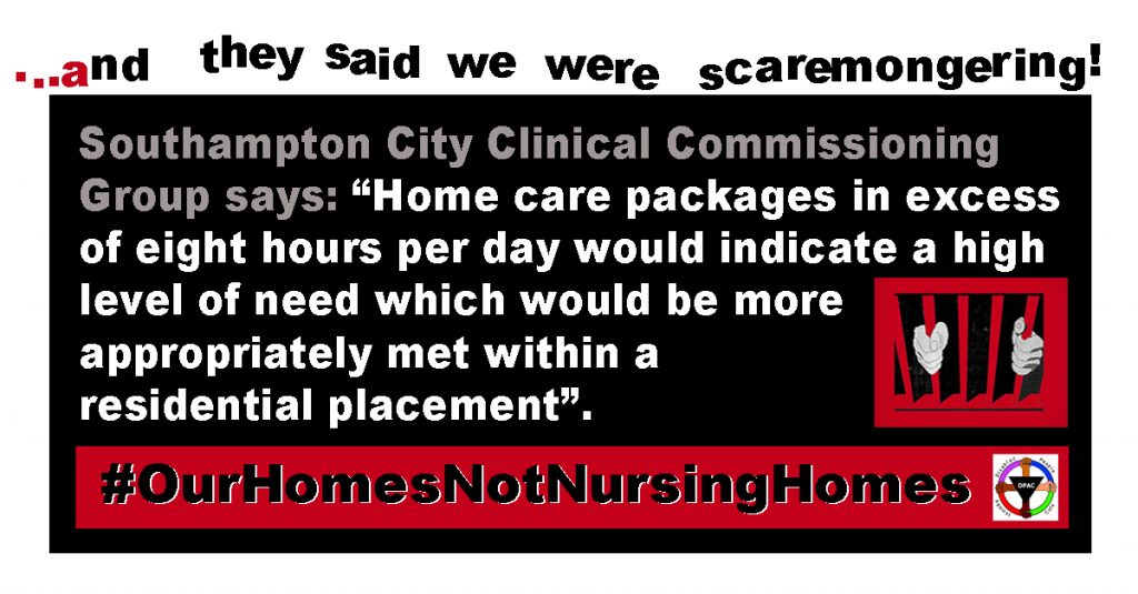 Southamton CCG limiting home care packages