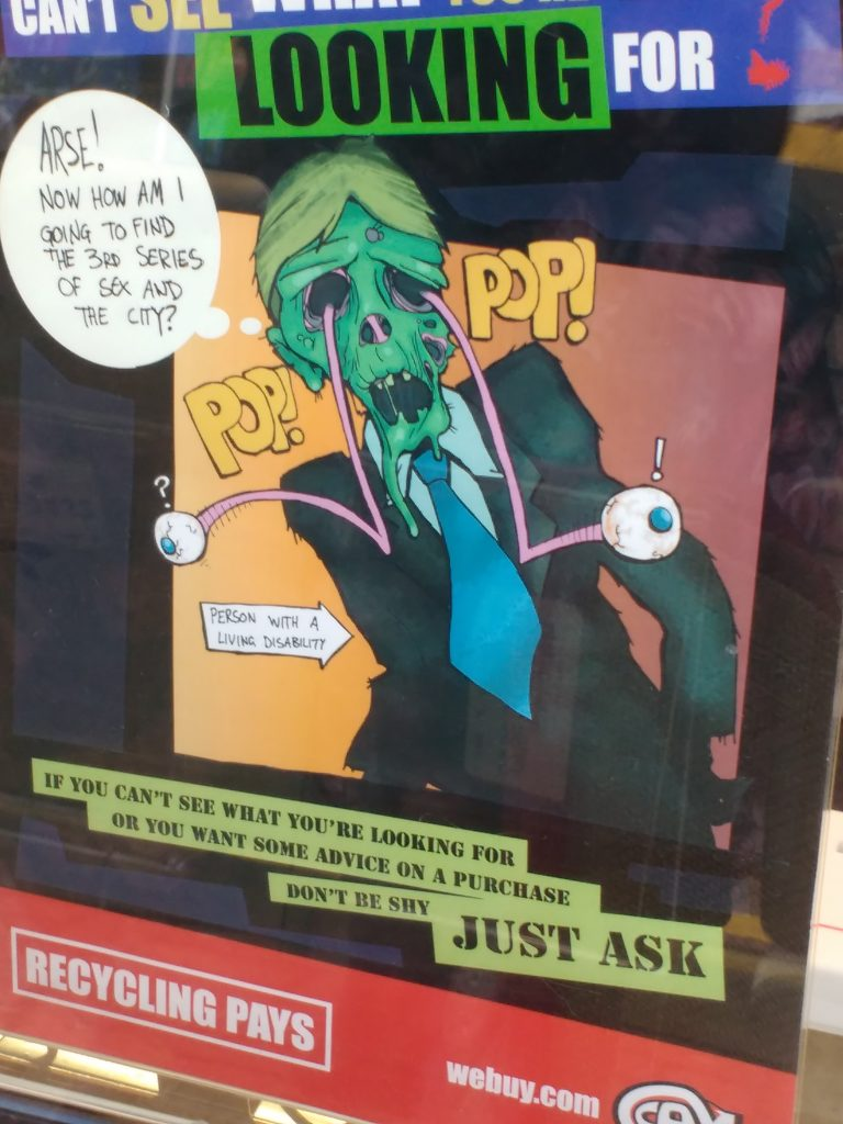 "Poster of a Zombie with the description ""Person with a living disability"""