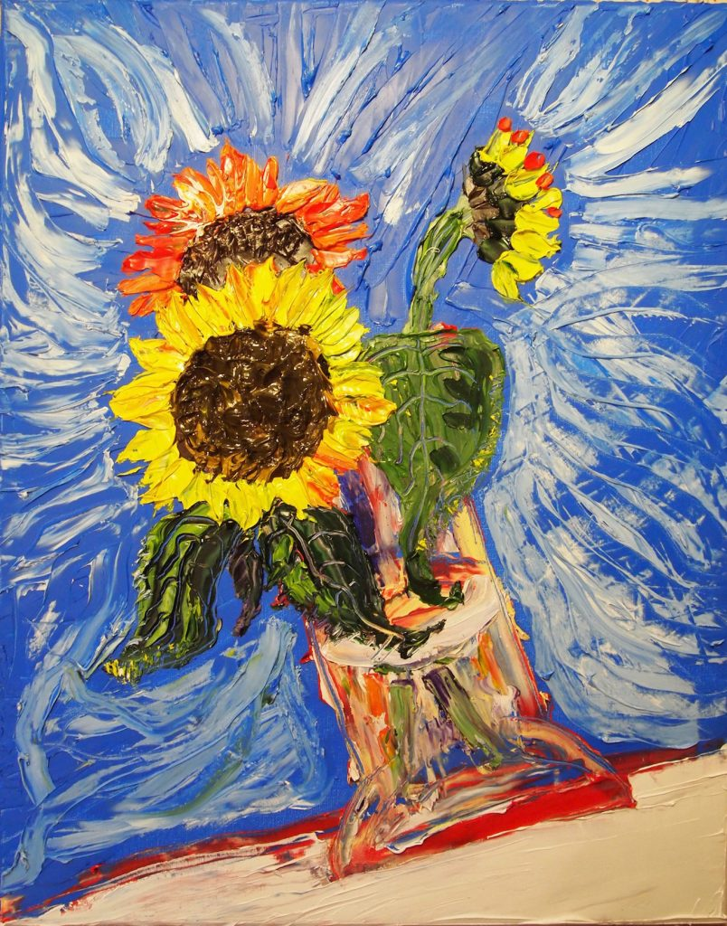 Debbie the Sunflower, one of a series of 100 Sunflower paintings by Artist/Activist Vince Laws