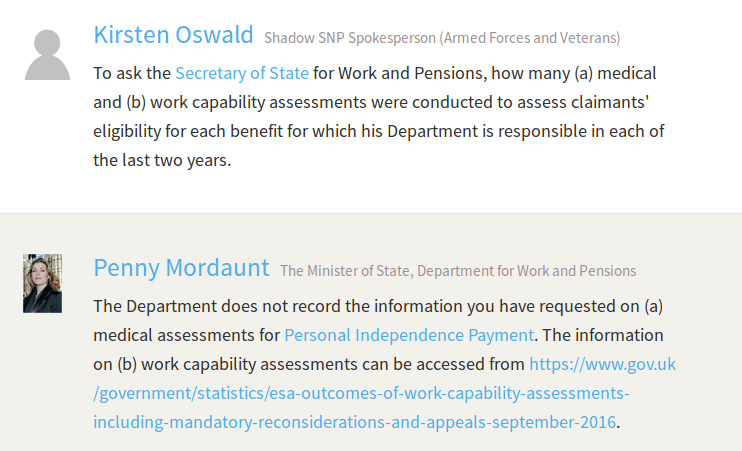 Extract from Hansard showing Penny Mordaunt claiming the DWP don't record the number of PIP assessments they have done
