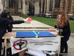Table tennis being played outside of Parliamt to highlight the Ping Pong between the Lords and Coomons over the ESA WRAG Cut