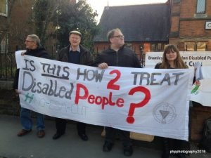 DPAC Members protest outside awaiting Zac Goldsmith (Picture: Paula Peters)