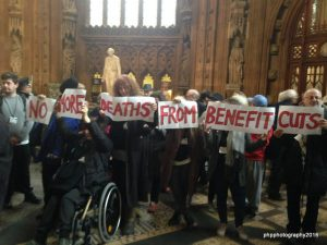 DPAC and other protest groups occupy the Lobby of Parialment during PMQs