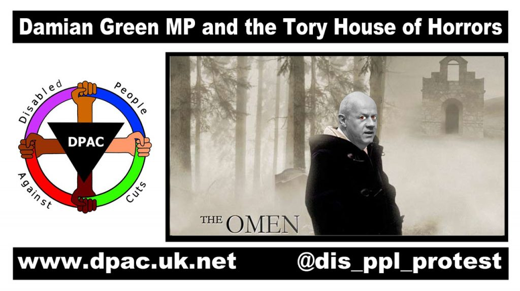 "A new meme from Brian Hilton to welcome the new Work and Pensions Minister, Damien ""The Omen"" Green"