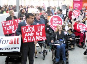 Image of disabled people protesting about transport access
