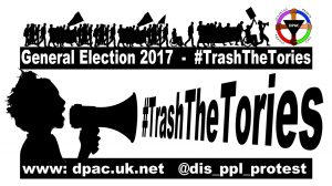 Loud hailer meme for the #TrashTheTories Campaign