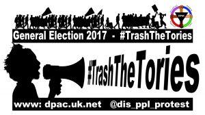 Loud hailer meme for the #TrashTheTories Campaign