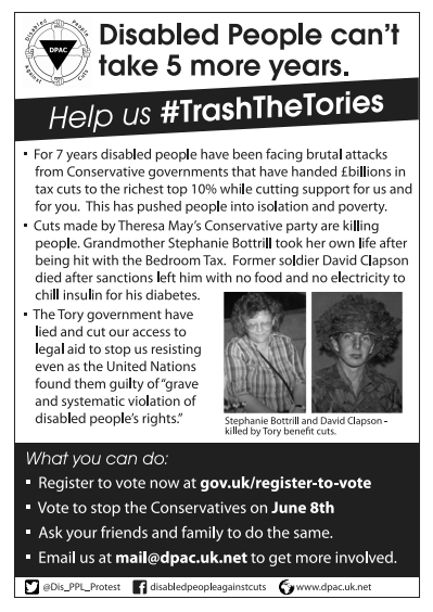 The Trash The Tories Leaflet that was handed out from the campaign stall
