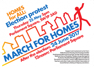 Homes for all protest Flyer - 25th May 5pm Parliament Sq and 24th June Noon Parliament Sq page 1